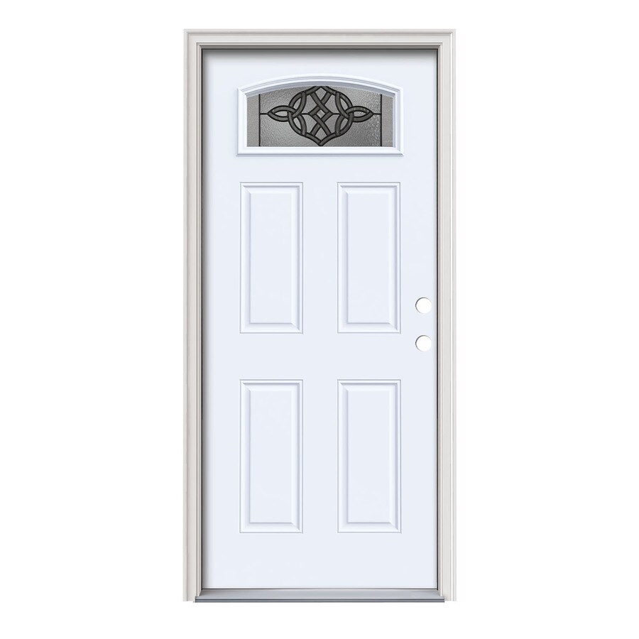 JELD-WEN Dylan Decorative Glass Left-Hand Inswing Primed Painted Steel Prehung Entry Door with Insulating Core (Common: 36-in x 80-in; Actual: 37.5-in x 81.75-in)