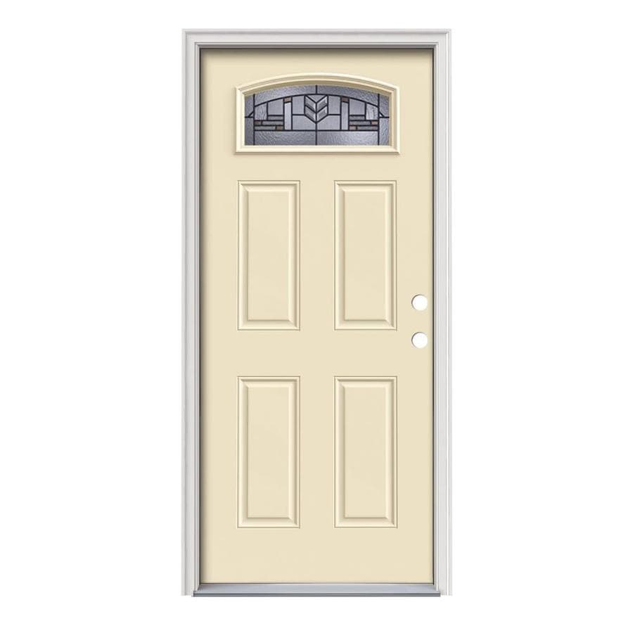 JELD-WEN Leighton Decorative Glass Left-Hand Inswing Bisque Painted Steel Prehung Entry Door with Insulating Core (Common: 36-in x 80-in; Actual: 37.5000-in x 81.7500-in)