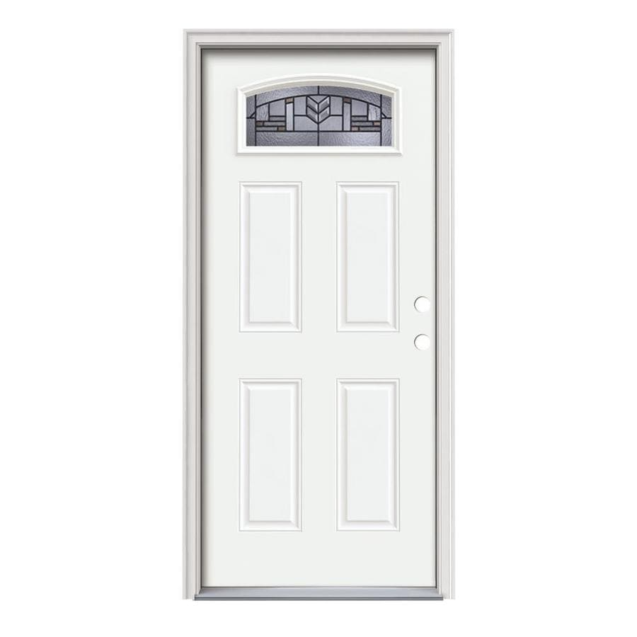 JELD-WEN Leighton Decorative Glass Left-Hand Inswing Modern White Painted Steel Prehung Entry Door with Insulating Core (Common: 36-in x 80-in; Actual: 37.5000-in x 81.7500-in)