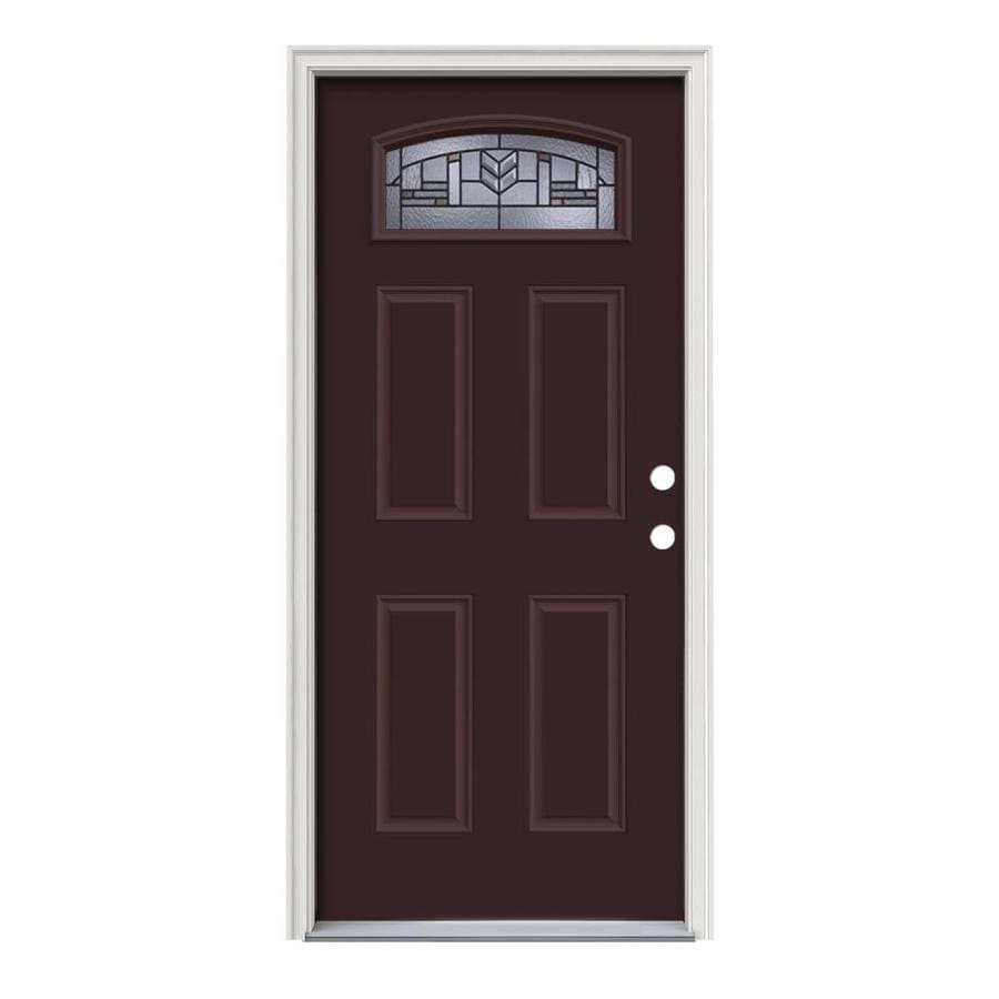 JELD-WEN Leighton Decorative Glass Left-Hand Inswing Currant Painted Steel Prehung Entry Door with Insulating Core (Common: 36-in x 80-in; Actual: 37.5-in x 81.75-in)