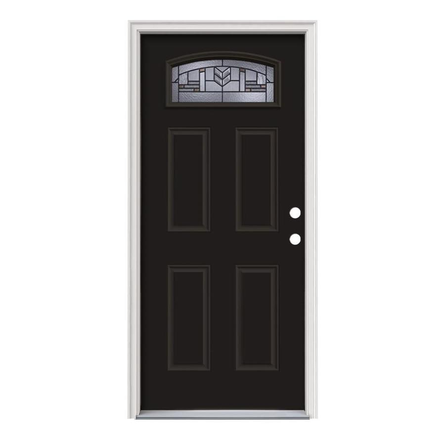 JELD-WEN Leighton Decorative Glass Left-Hand Inswing Peppercorn Painted Steel Prehung Entry Door with Insulating Core (Common: 36-in x 80-in; Actual: 37.5-in x 81.75-in)
