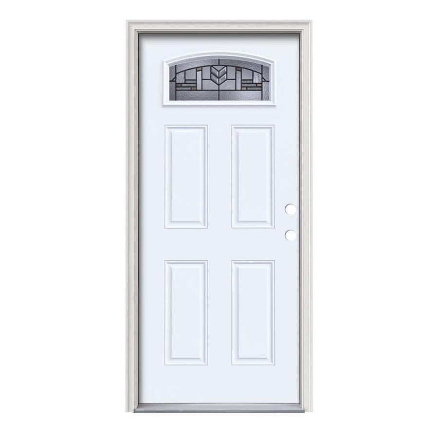 JELD-WEN Leighton 4-Panel Insulating Core Morelight Left-Hand Inswing Primed White Steel Painted Prehung Entry Door (Common: 36-in x 80-in; Actual: 37.5-in x 81.75-in)