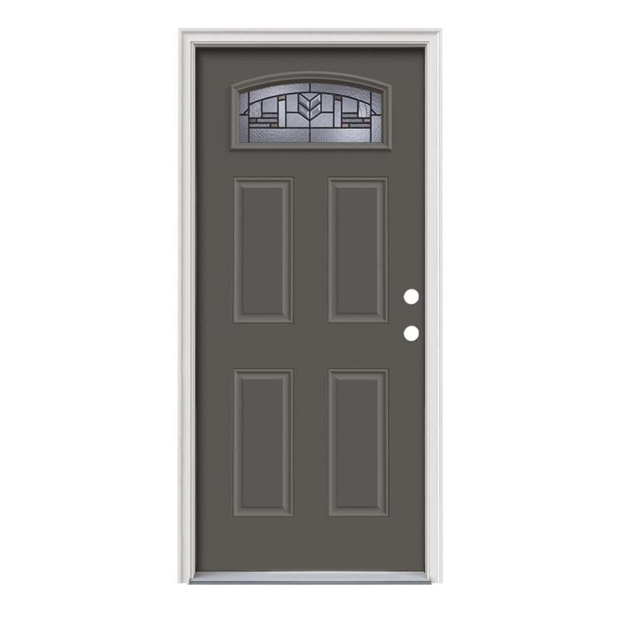 JELD-WEN Leighton 4-panel Insulating Core Morelight Left-Hand Inswing Timber Gray Steel Painted Prehung Entry Door (Common: 36-in x 80-in; Actual: 37.5-in x 81.75-in)