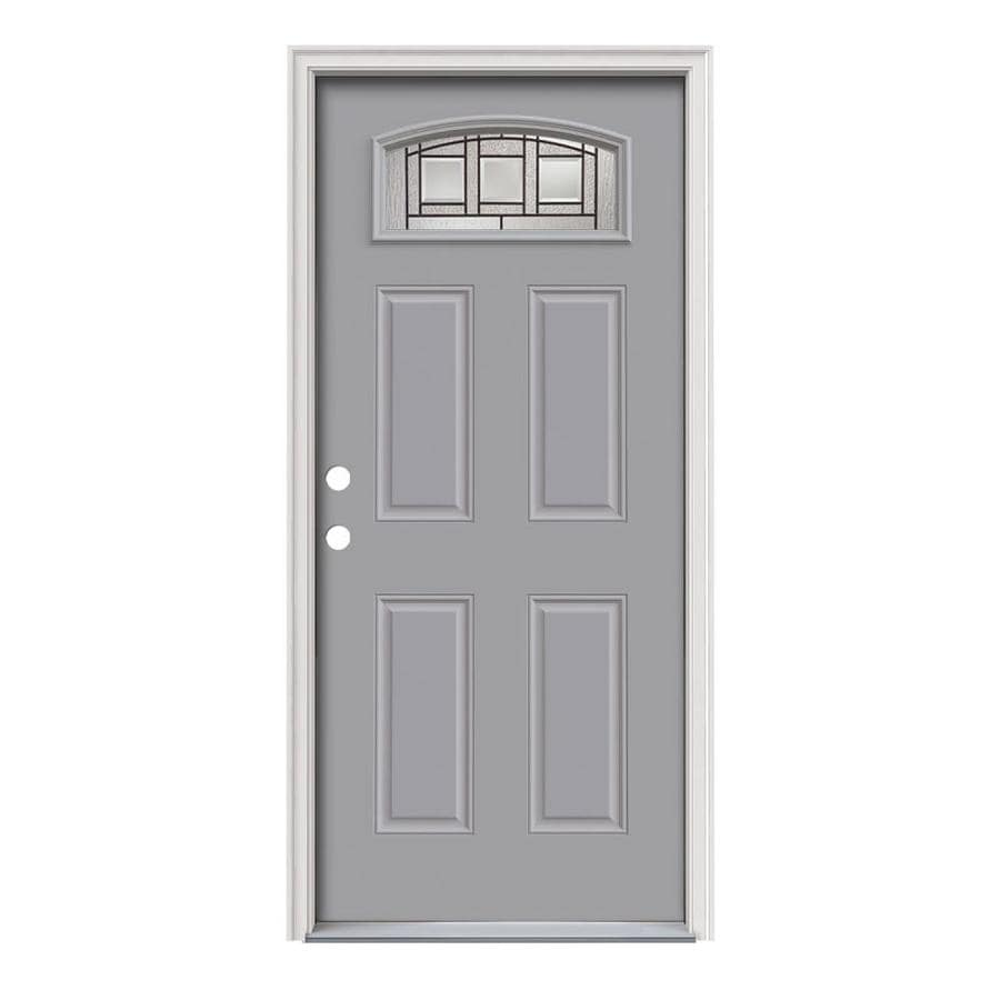 JELD-WEN Craftsman Decorative Glass Right-Hand Inswing Infinity Grey Painted Steel Prehung Entry Door with Insulating Core (Common: 36-in x 80-in; Actual: 37.5-in x 81.75-in)