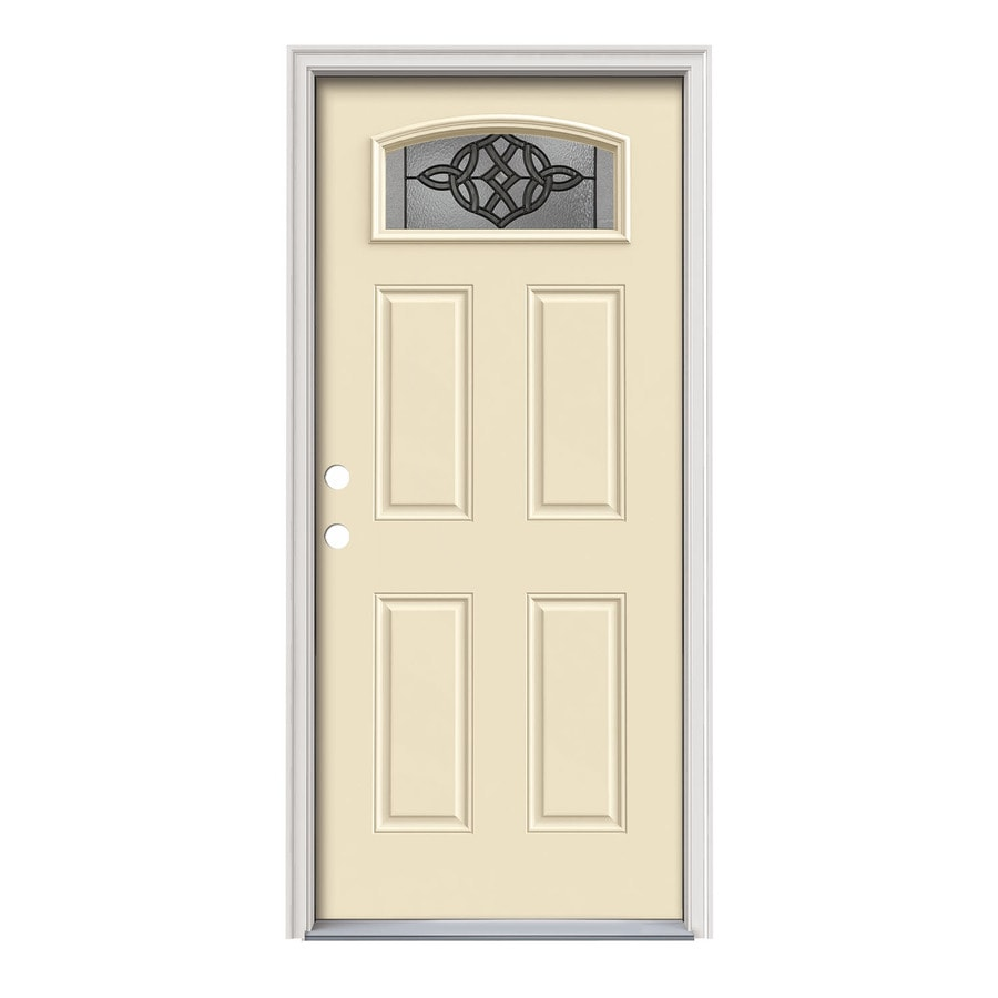 JELD-WEN Dylan Decorative Glass Right-Hand Inswing Bisque Steel Painted Entry Door (Common: 36-in x 80-in; Actual: 37.5000-in x 81.7500-in)
