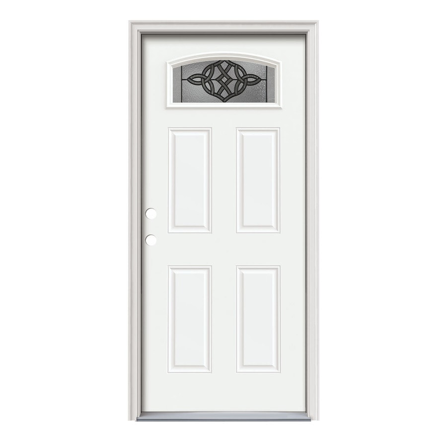 JELD-WEN Dylan Decorative Glass Right-Hand Inswing Modern White Painted Steel Prehung Entry Door with Insulating Core (Common: 36-in x 80-in; Actual: 37.5000-in x 81.7500-in)