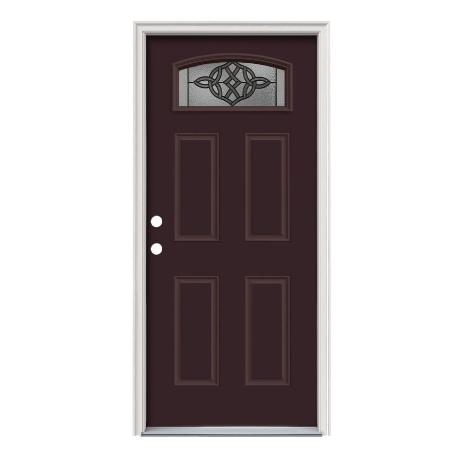 JELD-WEN Dylan Decorative Glass Right-Hand Inswing Currant Painted Steel Prehung Entry Door with Insulating Core (Common: 36-in x 80-in; Actual: 37.5000-in x 81.7500-in)