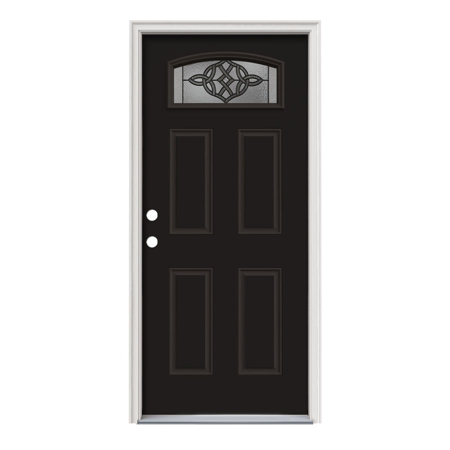 JELD-WEN Dylan Decorative Glass Right-Hand Inswing Peppercorn Painted Steel Prehung Entry Door with Insulating Core (Common: 36-in x 80-in; Actual: 37.5000-in x 81.7500-in)