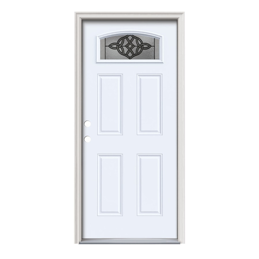 JELD-WEN Dylan 4-Panel Insulating Core Morelight Right-Hand Inswing Primed White Steel Painted Prehung Entry Door (Common: 36-in x 80-in; Actual: 37.5-in x 81.75-in)