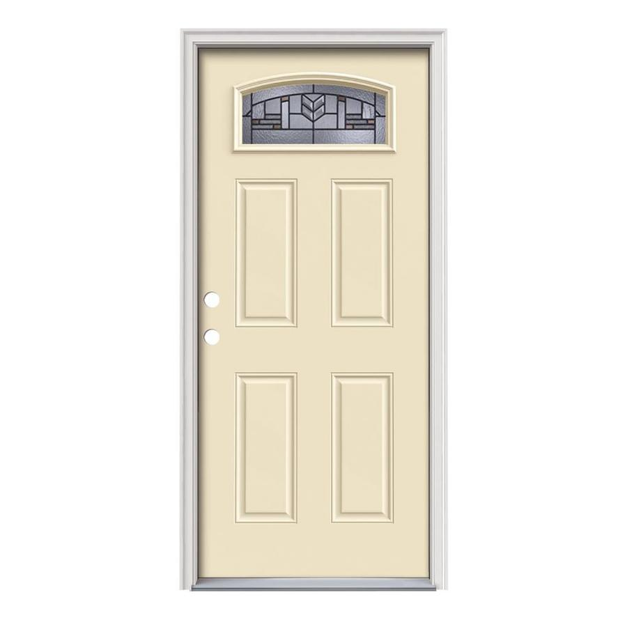 JELD-WEN Leighton Decorative Glass Right-Hand Inswing Bisque Painted Steel Prehung Entry Door with Insulating Core (Common: 36-in x 80-in; Actual: 37.5-in x 81.75-in)