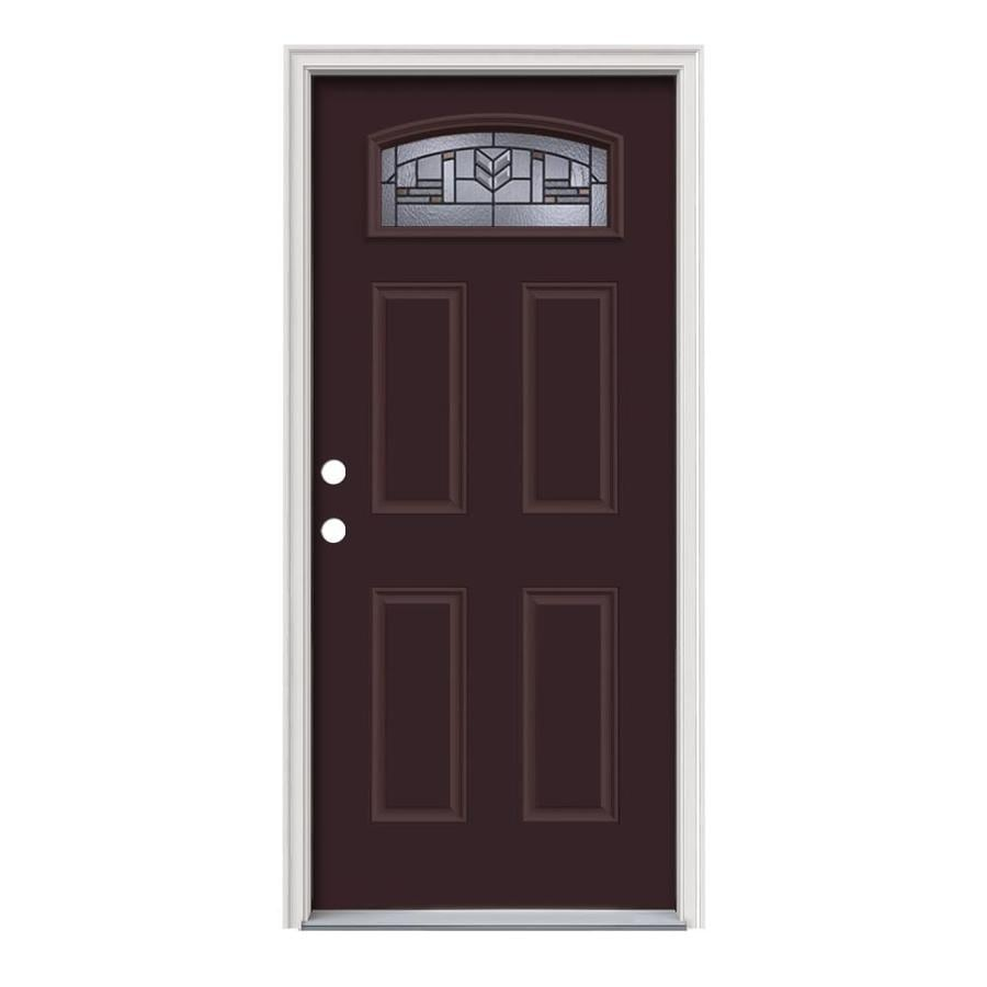 JELD-WEN Leighton Decorative Glass Right-Hand Inswing Currant Painted Steel Prehung Entry Door with Insulating Core (Common: 36-in x 80-in; Actual: 37.5-in x 81.75-in)