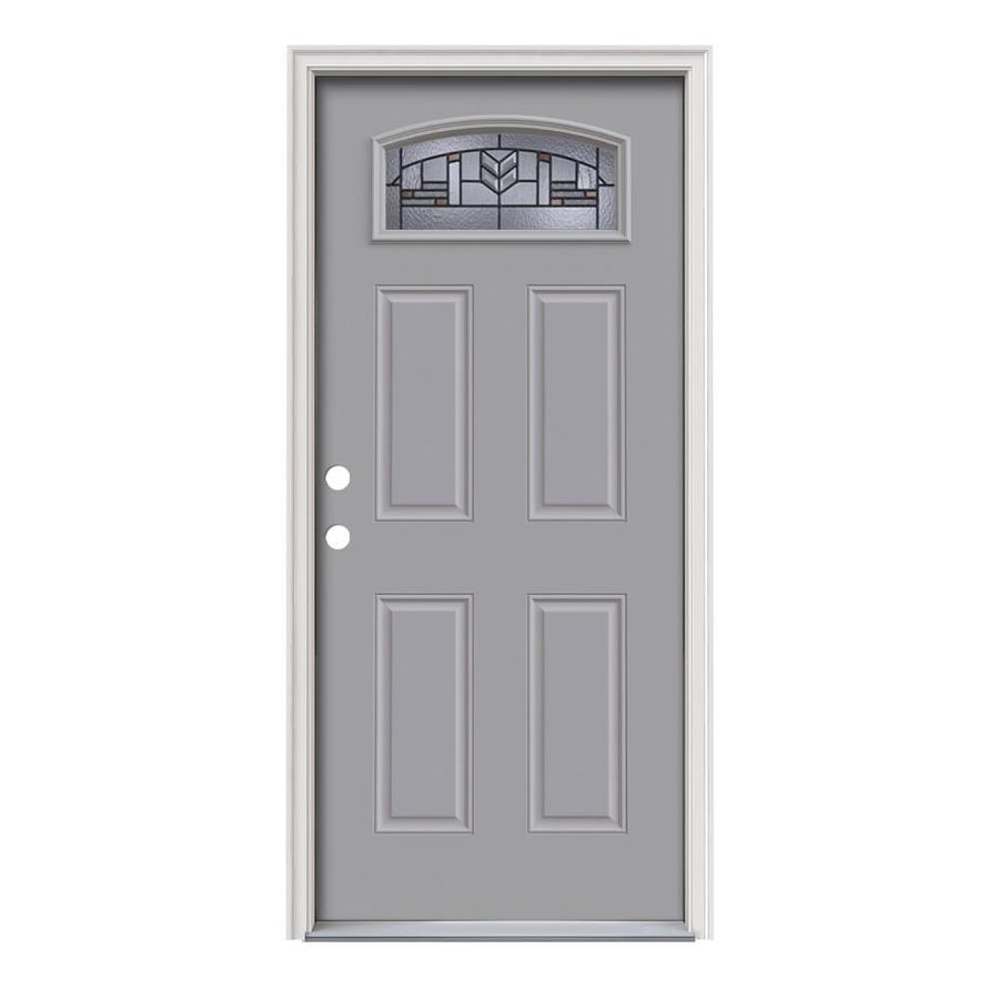 JELD-WEN Leighton Decorative Glass Right-Hand Inswing Infinity Grey Steel Painted Entry Door (Common: 36-in x 80-in; Actual: 37.5-in x 81.75-in)