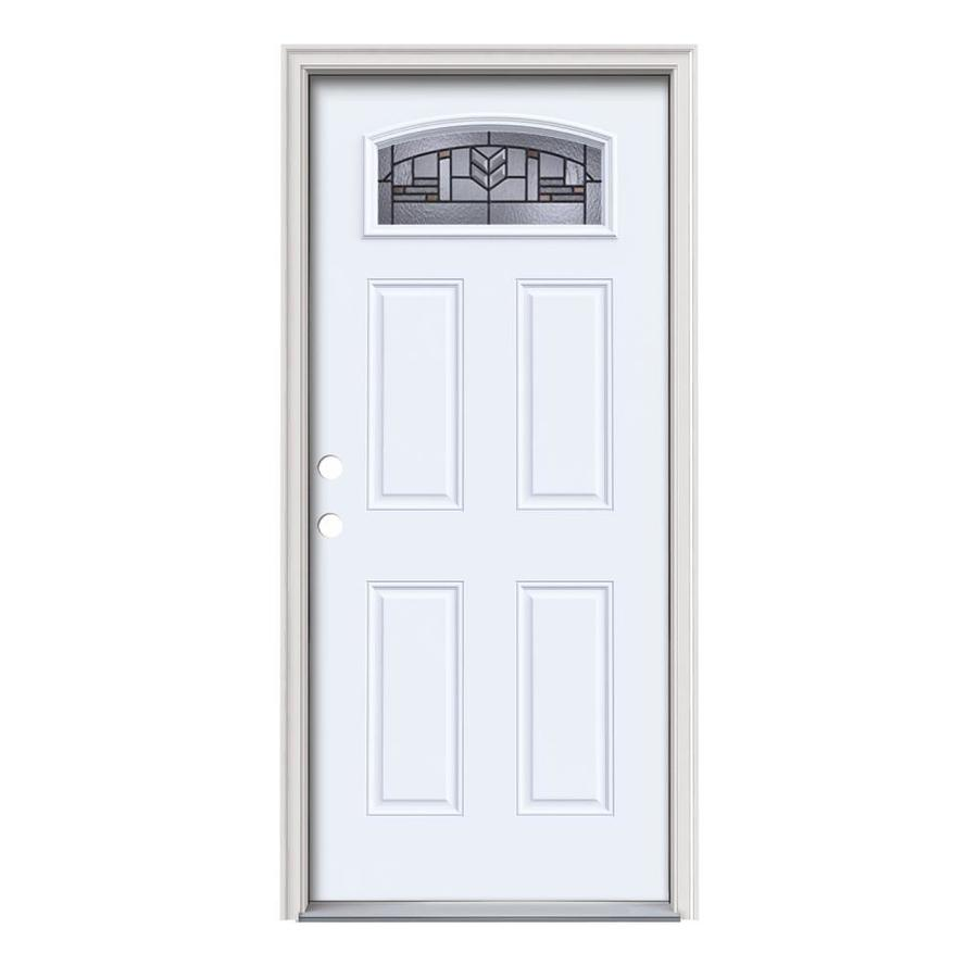 JELD-WEN Leighton 4-Panel Insulating Core Morelight Right-Hand Inswing Primed White Steel Painted Prehung Entry Door (Common: 36-in x 80-in; Actual: 37.5-in x 81.75-in)