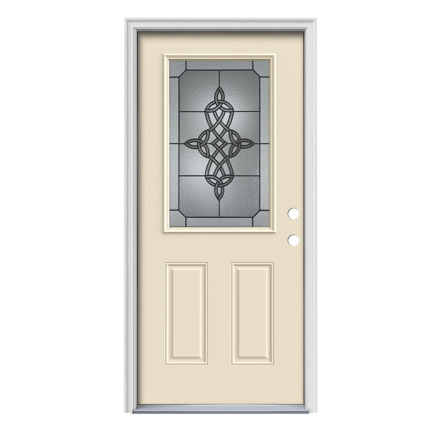 JELD-WEN Dylan Decorative Glass Left-Hand Inswing Bisque Steel Painted Entry Door (Common: 36-in x 80-in; Actual: 37.5000-in x 81.7500-in)