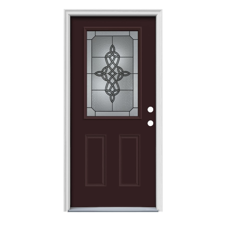 JELD-WEN Dylan 2-Panel Insulating Core Half Lite Left-Hand Inswing Currant Steel Painted Prehung Entry Door (Common: 36-in x 80-in; Actual: 37.5-in x 81.75-in)