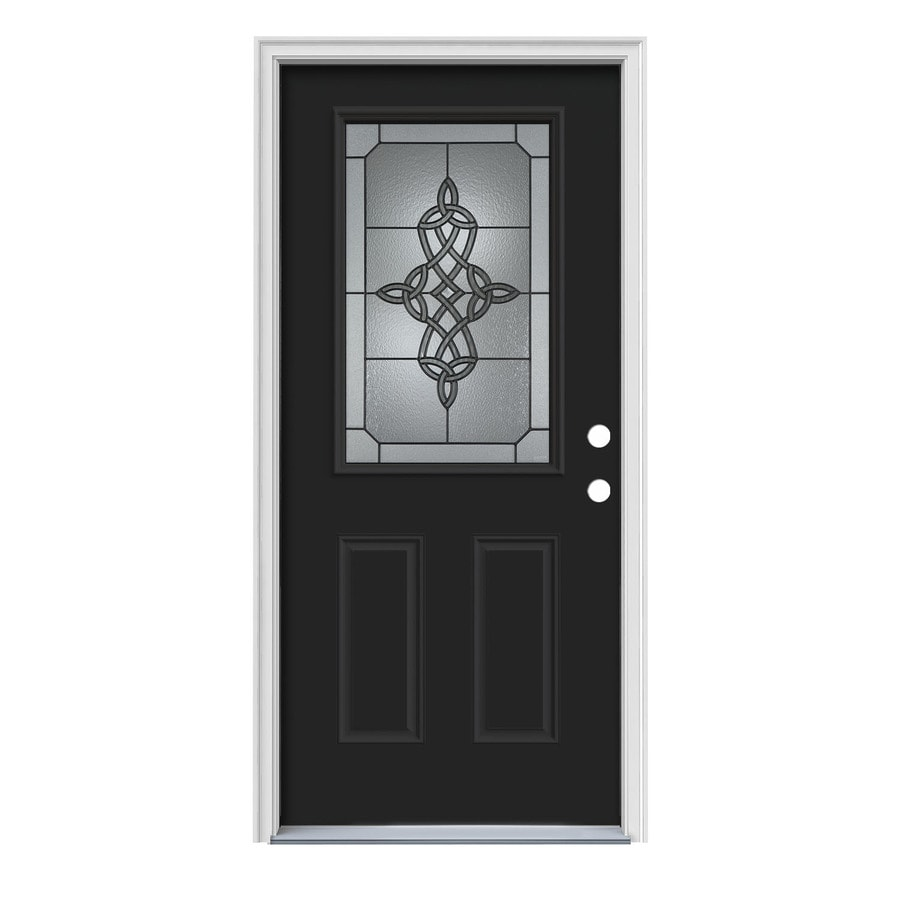 JELD-WEN Dylan Decorative Glass Left-Hand Inswing Peppercorn Painted Steel Prehung Entry Door with Insulating Core (Common: 36-in x 80-in; Actual: 37.5-in x 81.75-in)