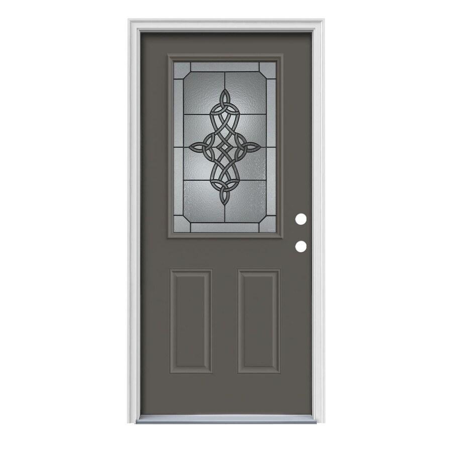 JELD-WEN Dylan 2-Panel Insulating Core Half Lite Left-Hand Inswing Timber Gray Steel Painted Prehung Entry Door (Common: 36-in x 80-in; Actual: 37.5-in x 81.75-in)
