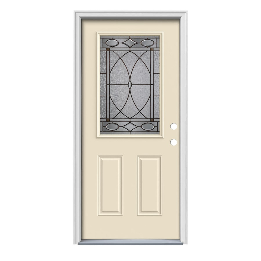 JELD-WEN Hutton Decorative Glass Left-Hand Inswing Bisque Painted Steel Prehung Entry Door with Insulating Core (Common: 36-in x 80-in; Actual: 37.5000-in x 81.7500-in)