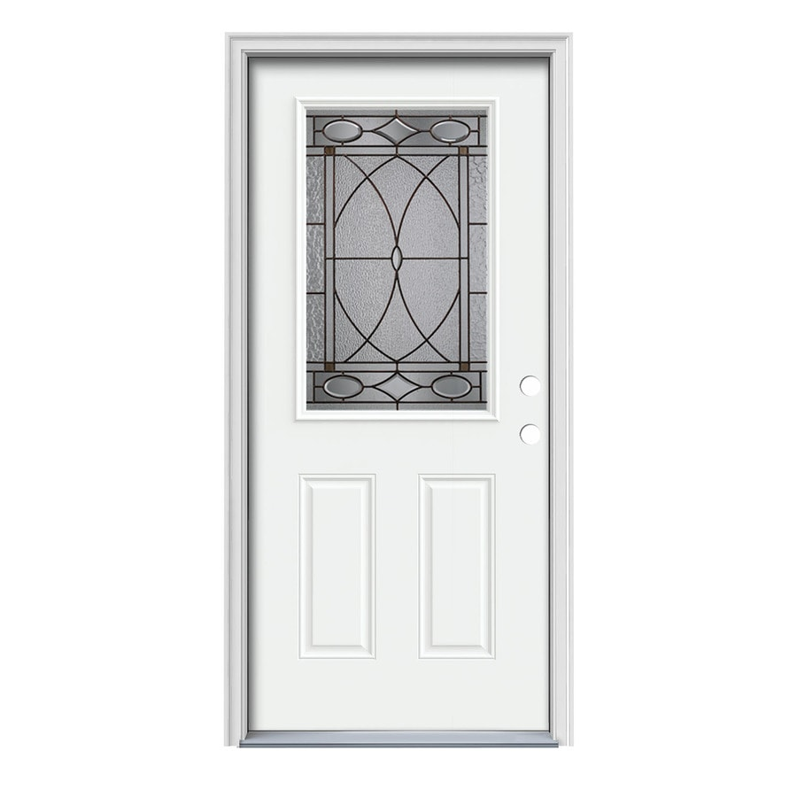 JELD-WEN Hutton Decorative Glass Left-Hand Inswing Modern White Painted Steel Prehung Entry Door with Insulating Core (Common: 36-in x 80-in; Actual: 37.5-in x 81.75-in)