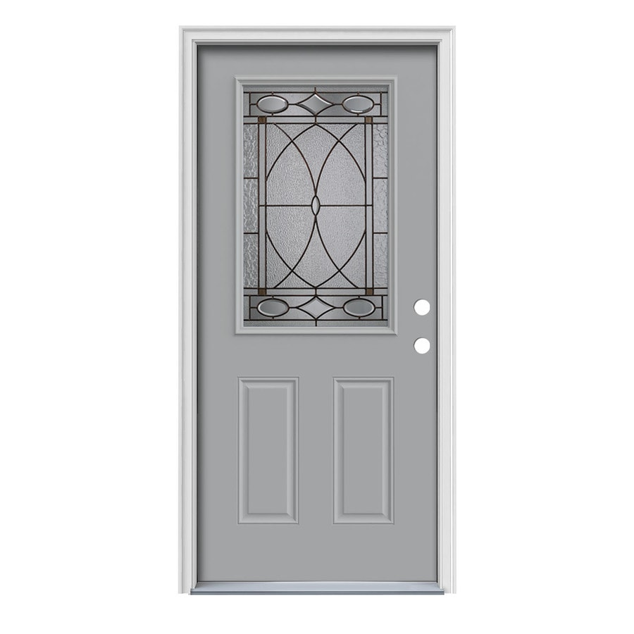 JELD-WEN Hutton Decorative Glass Left-Hand Inswing Infinity Grey Steel Painted Entry Door (Common: 36-in x 80-in; Actual: 37.5000-in x 81.7500-in)
