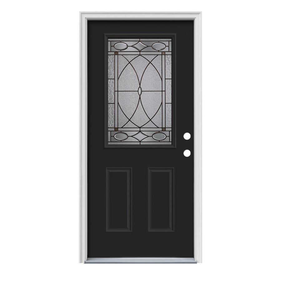 JELD-WEN Hutton Decorative Glass Left-Hand Inswing Peppercorn Steel Painted Entry Door (Common: 36-in x 80-in; Actual: 37.5-in x 81.75-in)