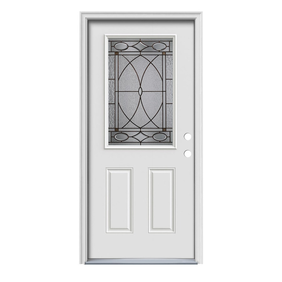 JELD-WEN Hutton 2-Panel Insulating Core Half Lite Left-Hand Inswing Primed White Steel Painted Prehung Entry Door (Common: 36-in x 80-in; Actual: 37.5-in x 81.75-in)