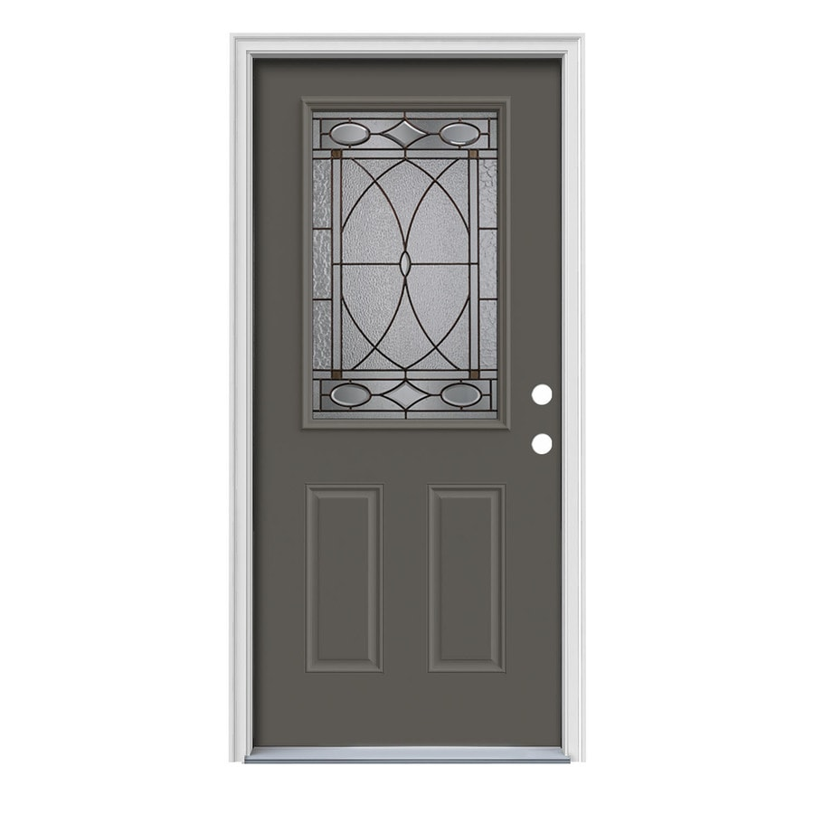 JELD-WEN Hutton 2-Panel Insulating Core Half Lite Left-Hand Inswing Timber Gray Steel Painted Prehung Entry Door (Common: 36-in x 80-in; Actual: 37.5-in x 81.75-in)