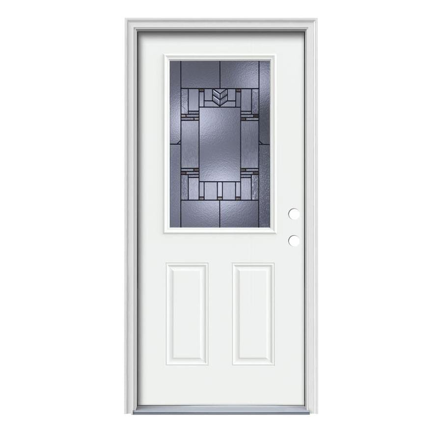 Shop Jeld Wen Leighton Decorative Glass Left Hand Inswing Modern White Steel Painted Entry Door