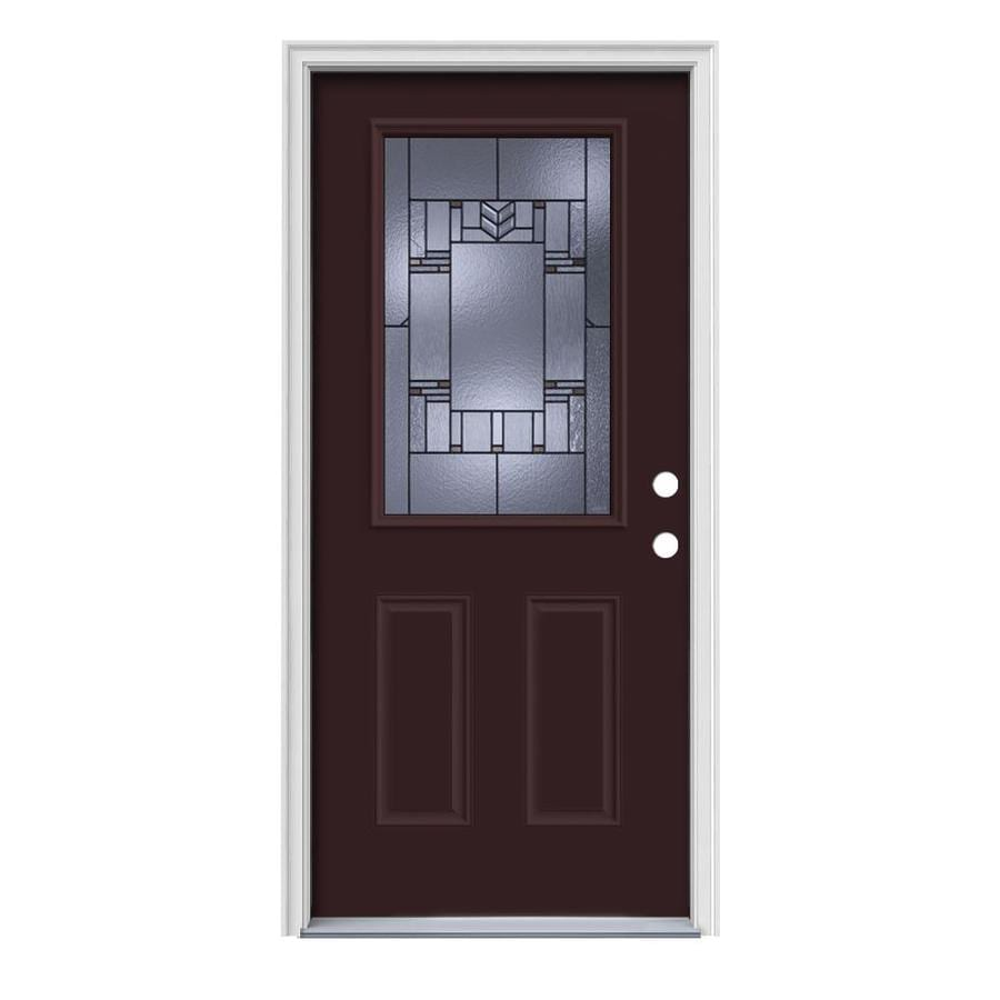 JELD-WEN Leighton 2-Panel Insulating Core Half Lite Left-Hand Inswing Currant Steel Painted Prehung Entry Door (Common: 36-in x 80-in; Actual: 37.5-in x 81.75-in)