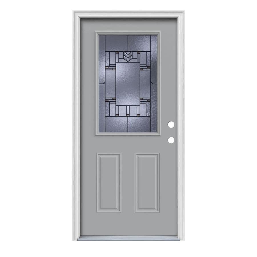 JELD-WEN Leighton Decorative Glass Left-Hand Inswing Infinity Grey Painted Steel Prehung Entry Door with Insulating Core (Common: 36-in x 80-in; Actual: 37.5-in x 81.75-in)