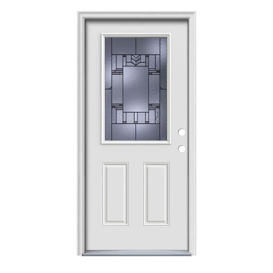 JELD-WEN Leighton Decorative Glass Left-Hand Inswing Primed Painted Steel Prehung Entry Door with Insulating Core (Common: 36-in x 80-in; Actual: 37.5000-in x 81.7500-in)