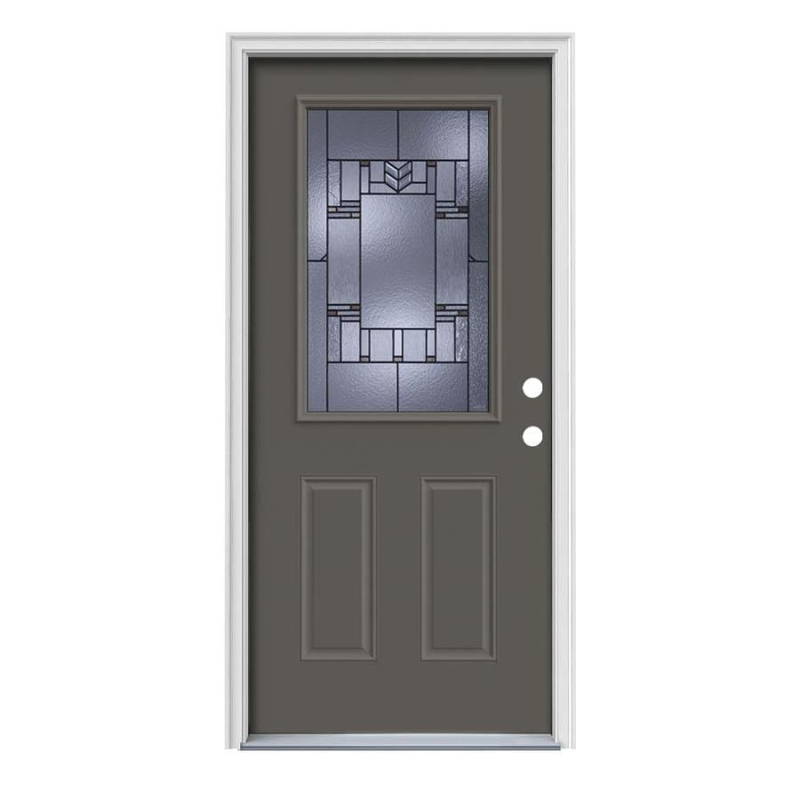 JELD-WEN Leighton Decorative Glass Left-Hand Inswing Timber Gray Painted Steel Prehung Entry Door with Insulating Core (Common: 36-in x 80-in; Actual: 37.5-in x 81.75-in)
