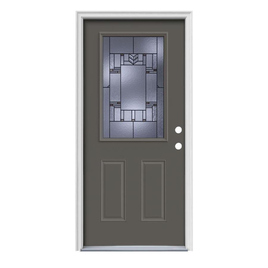 JELD-WEN Leighton 2-Panel Insulating Core Half Lite Left-Hand Inswing Timber Gray Steel Painted Prehung Entry Door (Common: 36-in x 80-in; Actual: 37.5-in x 81.75-in)
