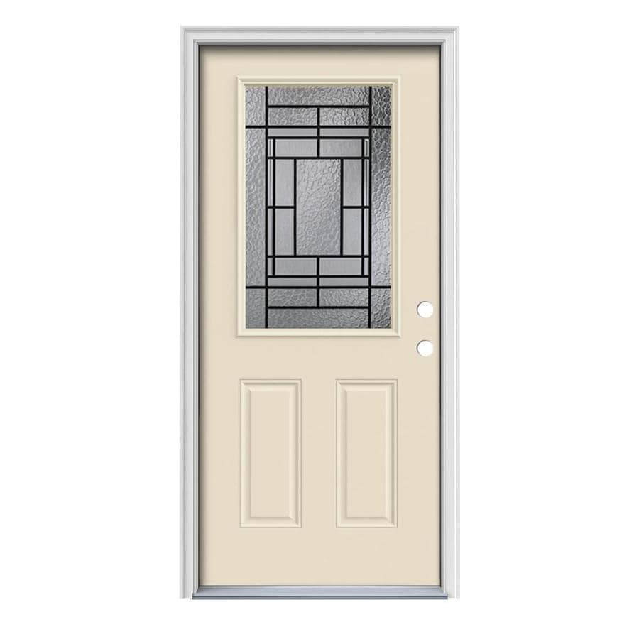 JELD-WEN Pembrook Decorative Glass Left-Hand Inswing Bisque Painted Steel Prehung Entry Door with Insulating Core (Common: 36-in x 80-in; Actual: 37.5000-in x 81.7500-in)