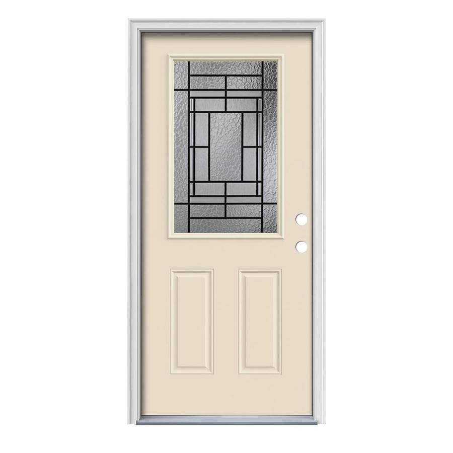 JELD-WEN Pembrook Decorative Glass Left-Hand Inswing Bisque Steel Painted Entry Door (Common: 36-in x 80-in; Actual: 37.5000-in x 81.7500-in)