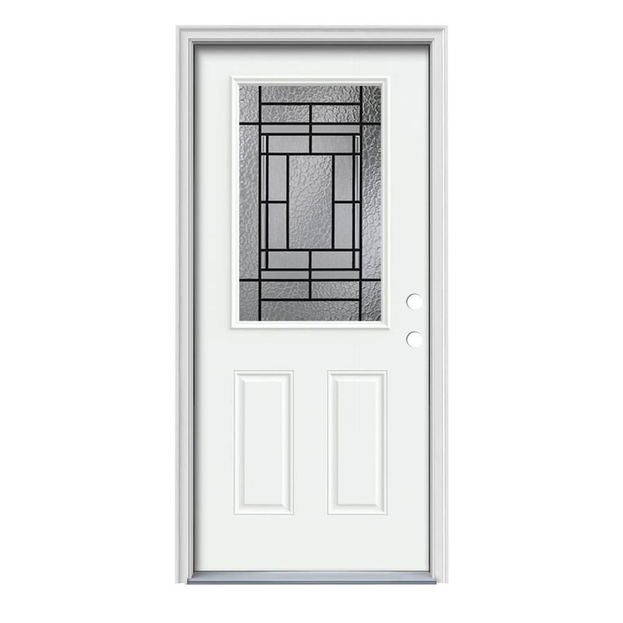JELD-WEN Pembrook Decorative Glass Left-Hand Inswing Modern White Steel Painted Entry Door (Common: 36-in x 80-in; Actual: 37.5-in x 81.75-in)