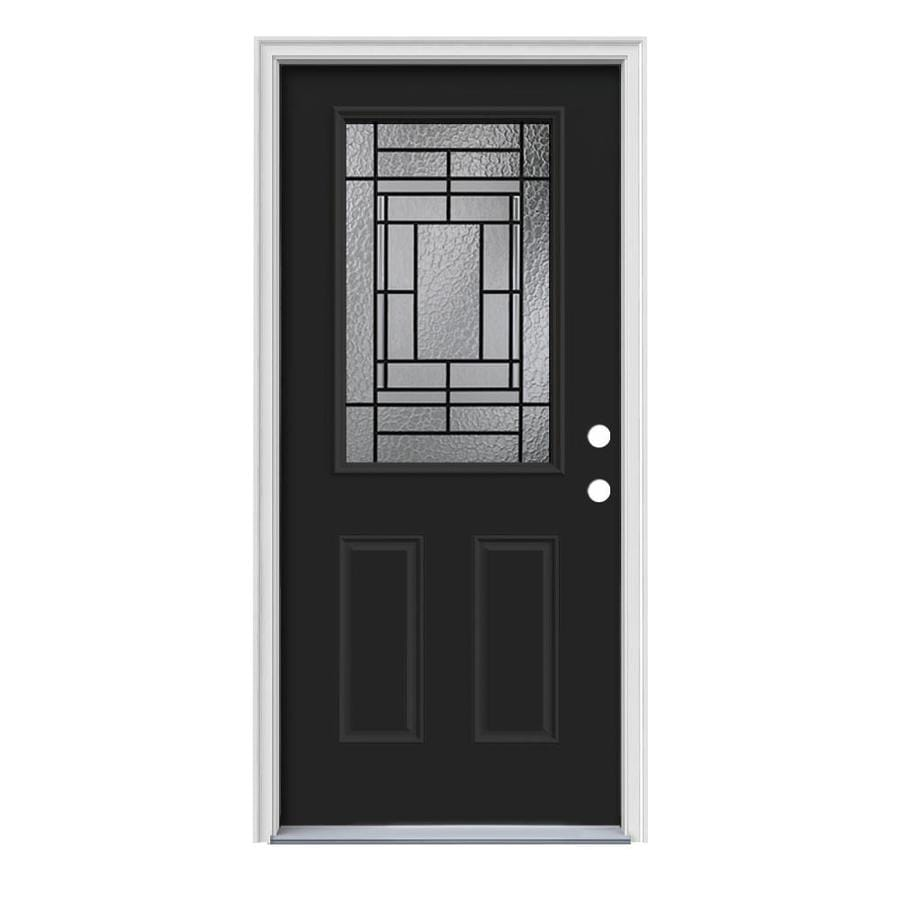 JELD-WEN Pembrook Decorative Glass Left-Hand Inswing Peppercorn Painted Steel Prehung Entry Door with Insulating Core (Common: 36-in x 80-in; Actual: 37.5000-in x 81.7500-in)