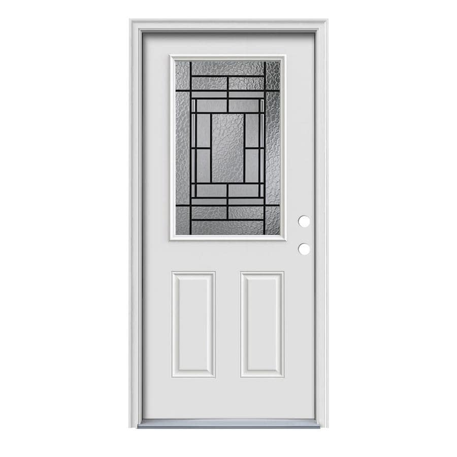 JELD-WEN Pembrook Decorative Glass Left-Hand Inswing Primed Steel Painted Entry Door (Common: 36-in x 80-in; Actual: 37.5000-in x 81.7500-in)