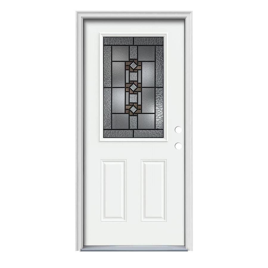 JELD-WEN Sonora Decorative Glass Left-Hand Inswing Modern White Steel Painted Entry Door (Common: 36-in x 80-in; Actual: 37.5000-in x 81.7500-in)