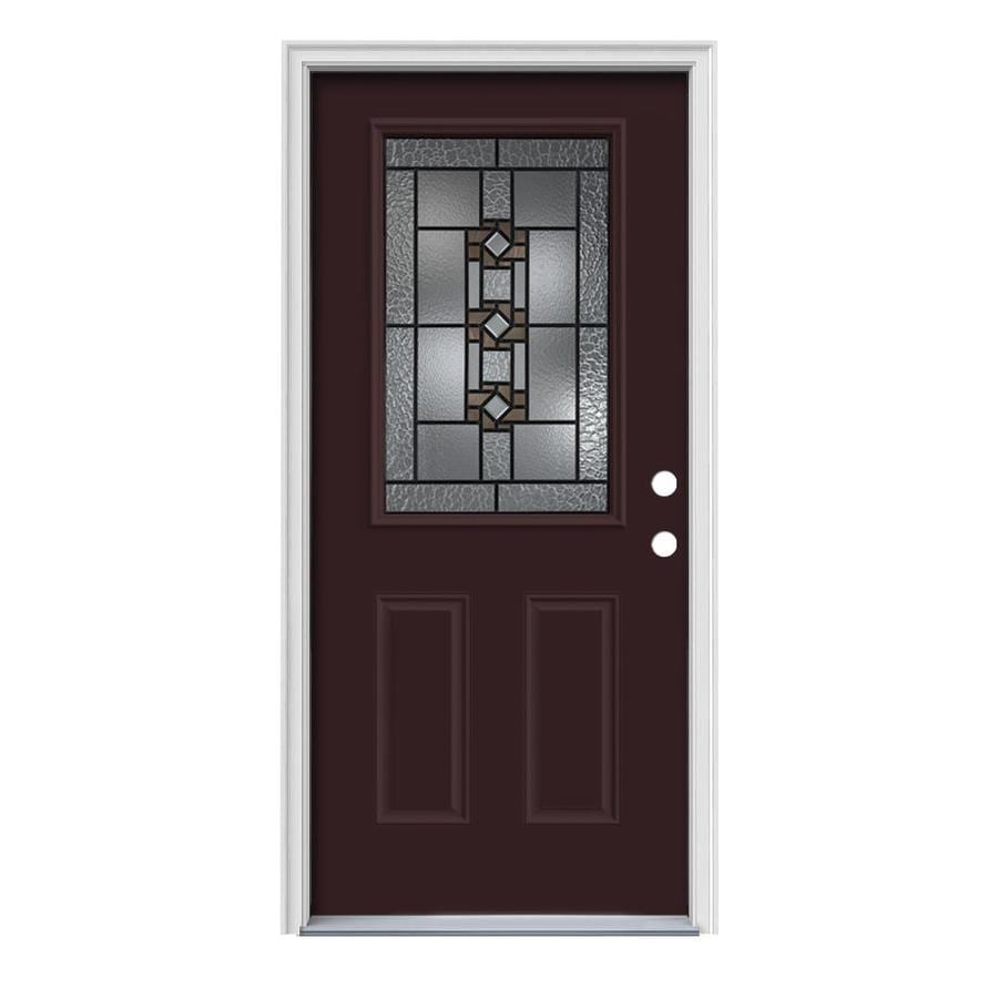 JELD-WEN Sonora 2-Panel Insulating Core Half Lite Left-Hand Inswing Currant Steel Painted Prehung Entry Door (Common: 36-in x 80-in; Actual: 37.5-in x 81.75-in)