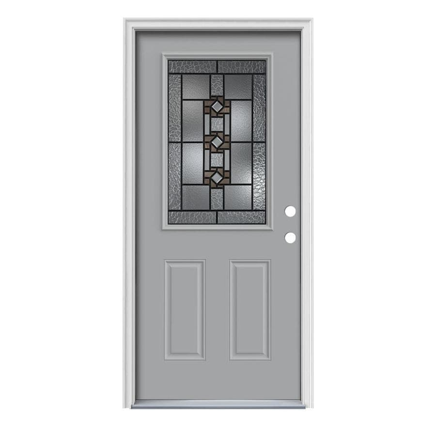 JELD-WEN Sonora 2-Panel Insulating Core Half Lite Left-Hand Inswing Infinity Grey Steel Painted Prehung Entry Door (Common: 36-in x 80-in; Actual: 37.5-in x 81.75-in)
