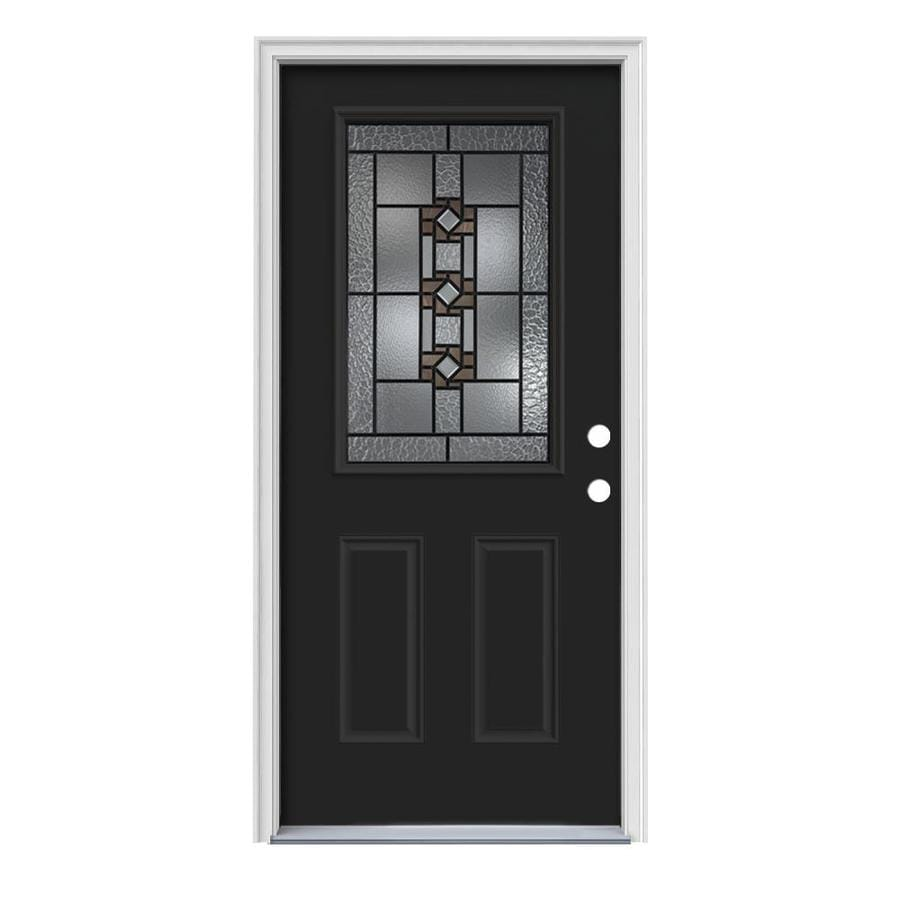 JELD-WEN Sonora Decorative Glass Left-Hand Inswing Peppercorn Painted Steel Prehung Entry Door with Insulating Core (Common: 36-in x 80-in; Actual: 37.5-in x 81.75-in)