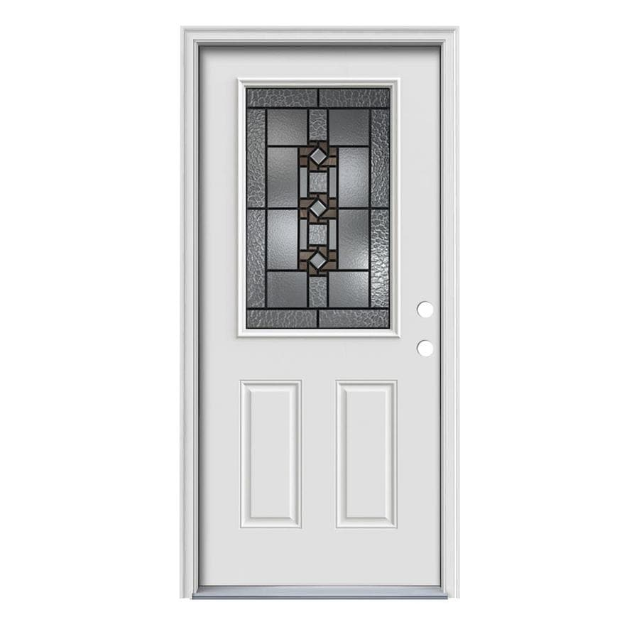 JELD-WEN Sonora Decorative Glass Left-Hand Inswing Primed Painted Steel Prehung Entry Door with Insulating Core (Common: 36-in x 80-in; Actual: 37.5000-in x 81.7500-in)