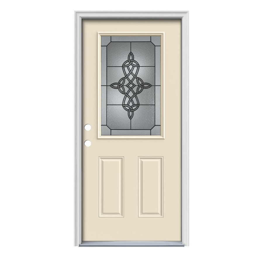 JELD-WEN Dylan Decorative Glass Right-Hand Inswing Bisque Painted Steel Prehung Entry Door with Insulating Core (Common: 36-in x 80-in; Actual: 37.5000-in x 81.7500-in)