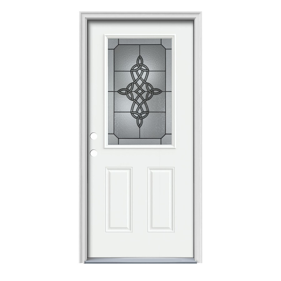 JELD-WEN Dylan Decorative Glass Right-Hand Inswing Modern White Steel Painted Entry Door (Common: 36-in x 80-in; Actual: 37.5000-in x 81.7500-in)