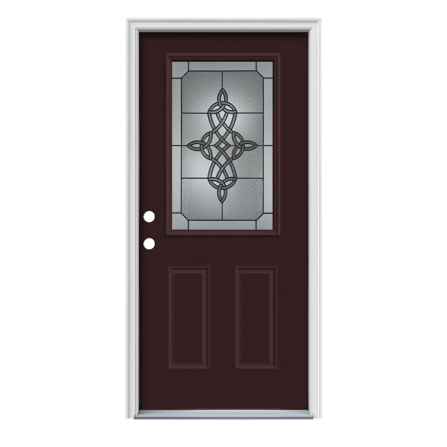 Decorative Steel Doors : Shop jeld wen dylan decorative glass right hand inswing