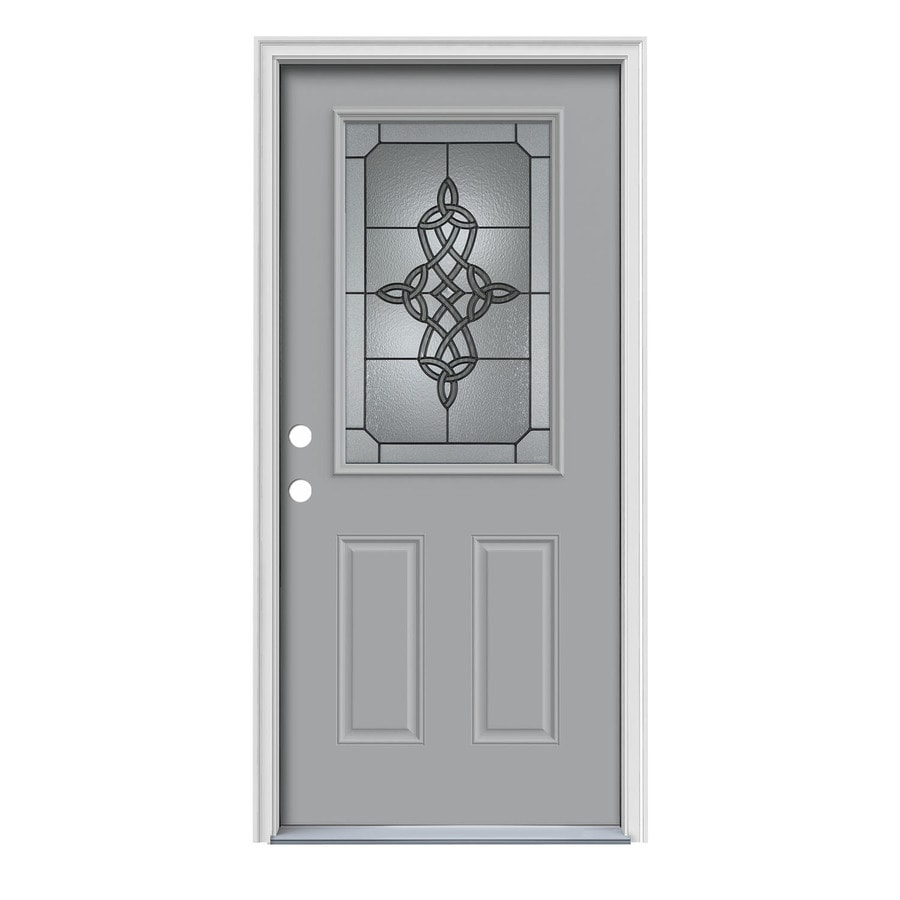 JELD-WEN Dylan 2-Panel Insulating Core Half Lite Right-Hand Inswing Infinity Grey Steel Painted Prehung Entry Door (Common: 36-in x 80-in; Actual: 37.5-in x 81.75-in)