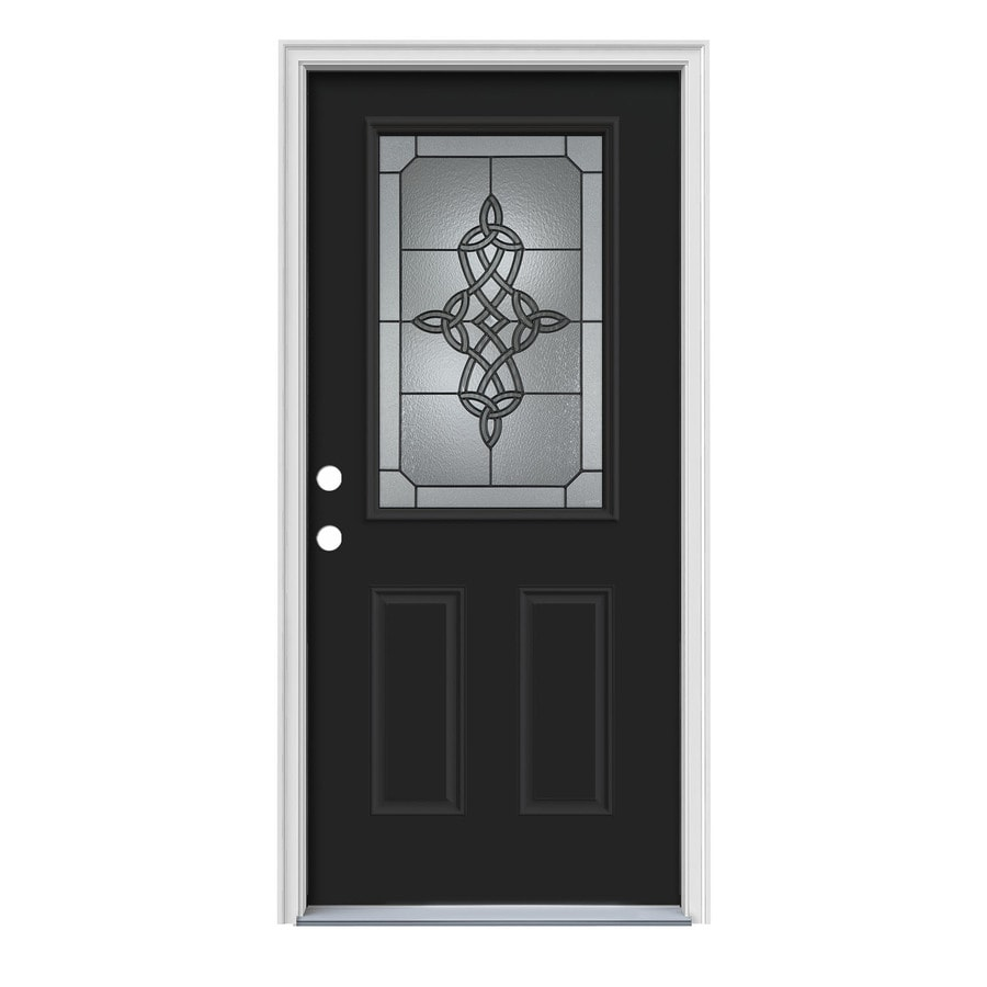 JELD-WEN Dylan Decorative Glass Right-Hand Inswing Peppercorn Painted Steel Prehung Entry Door with Insulating Core (Common: 36-in x 80-in; Actual: 37.5-in x 81.75-in)