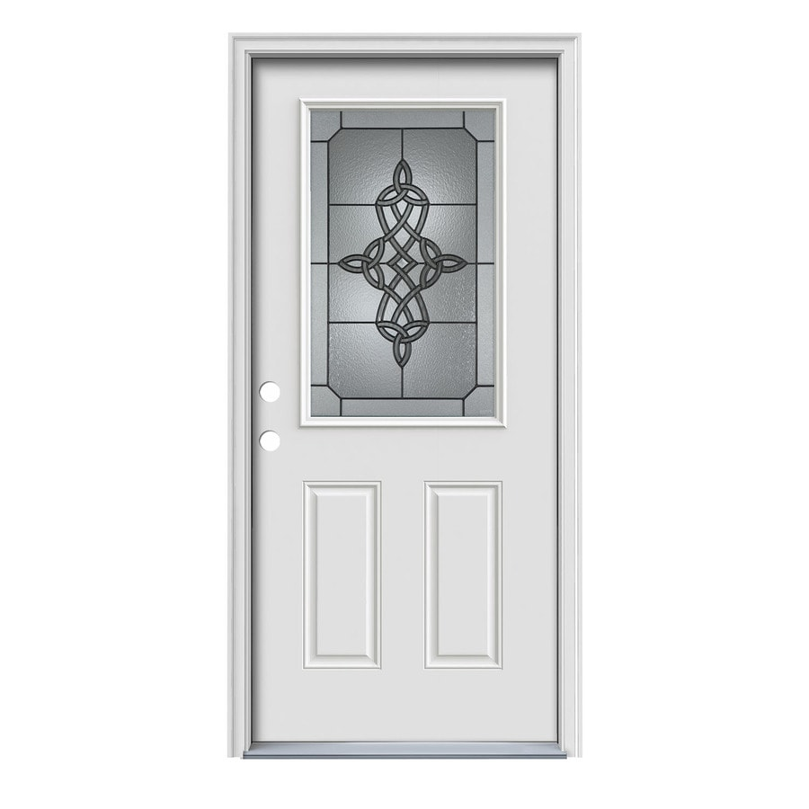 JELD-WEN Dylan 2-Panel Insulating Core Half Lite Right-Hand Inswing Primed White Steel Painted Prehung Entry Door (Common: 36-in x 80-in; Actual: 37.5-in x 81.75-in)