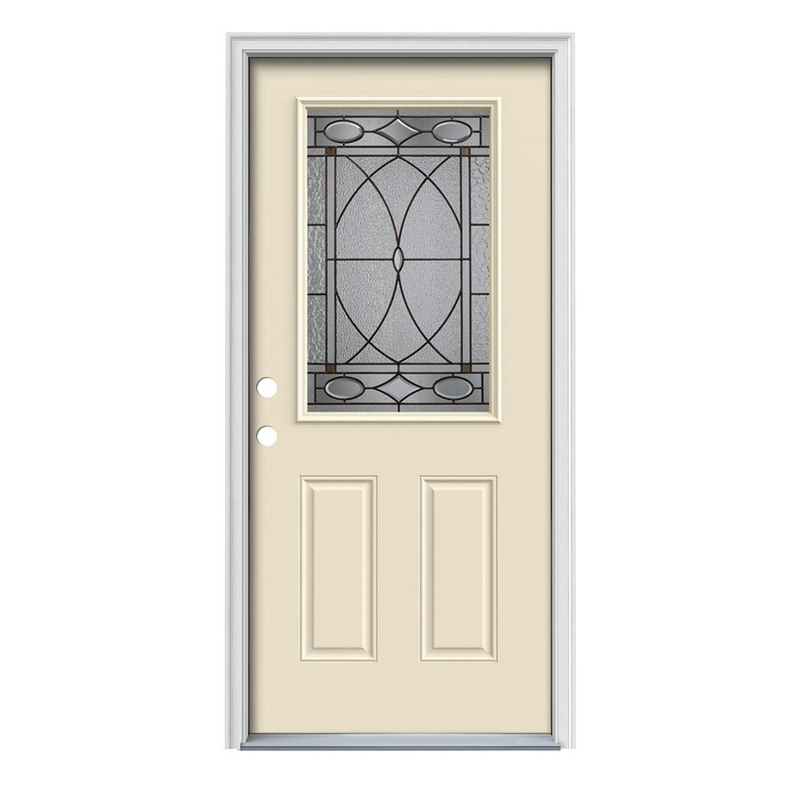 JELD-WEN Hutton Decorative Glass Right-Hand Inswing Bisque Painted Steel Prehung Entry Door with Insulating Core (Common: 36-in x 80-in; Actual: 37.5-in x 81.75-in)